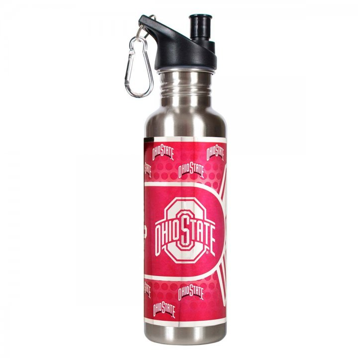 Ohio State Buckeyes NCAA Ohio State Buckeyes 26 oz Stainless Steel Water Bottle with Metallic Graphics (Silver)