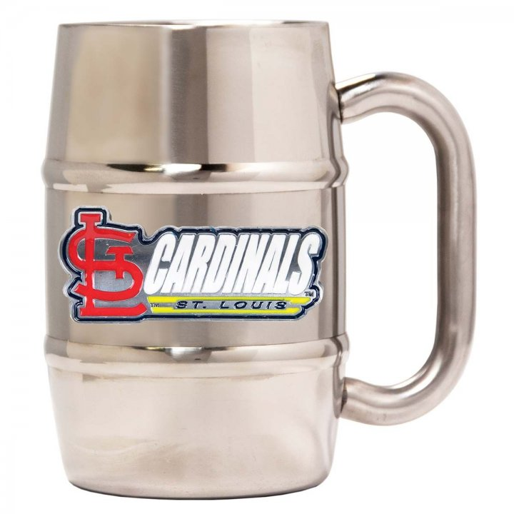 St. Louis Cardinals 16 oz Double Wall Stainless Steel Mug (Silver)