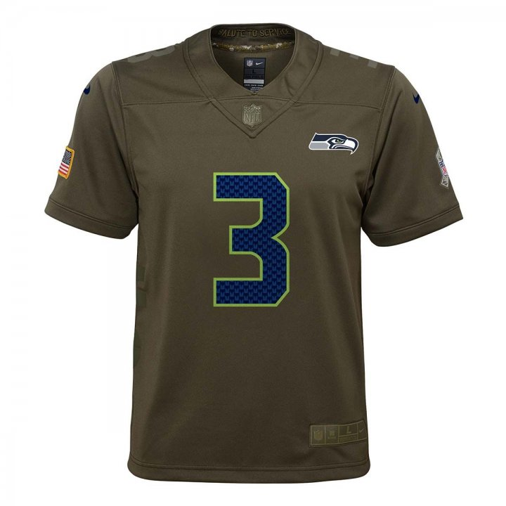 Seattle Seahawks NFL Russell Wilson Nike Salute To Service Youth Jersey (Green)