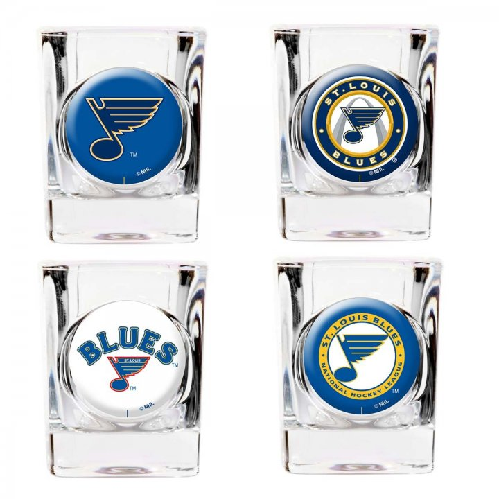 St Louis Blues NHL 4 Piece Collector's Shot Glass Set (Clear)