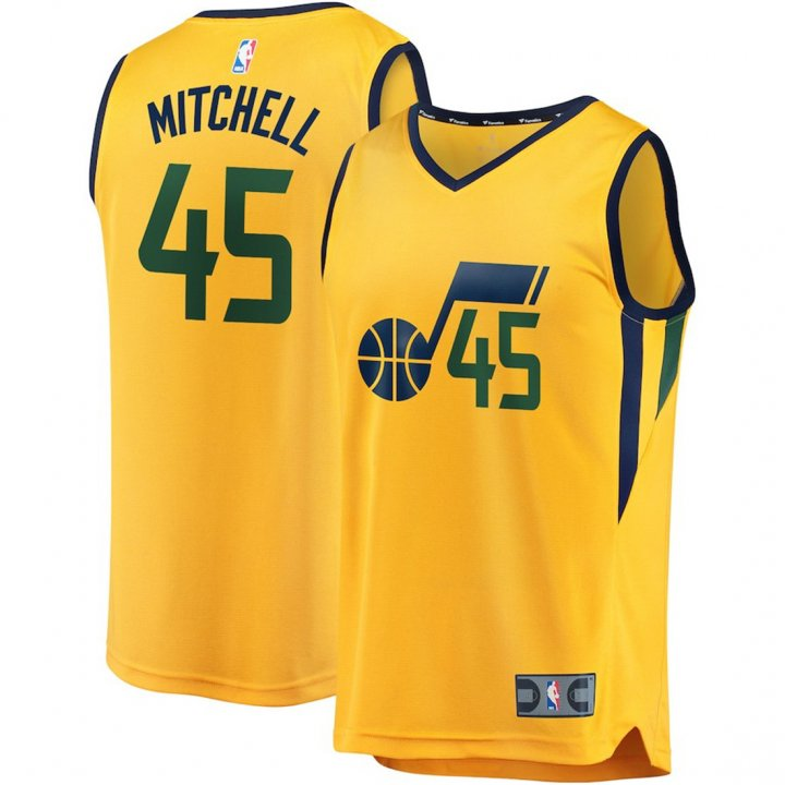 OuterStuff Youth Utah Jazz #45 Donovan Mitchell Kids Basketball Jersey Gold