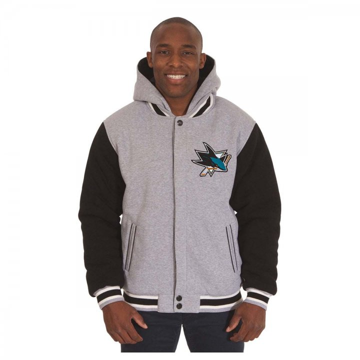 San Jose Sharks Patch Program Reversible Fleece Hooded Button Snap Jacket (Black)