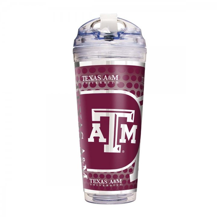Texas A&M Aggies NCAA Texas A & M Aggies 24 oz Double Wall Acrylic Travel Tumbler with Metallic Graphics (Clear)