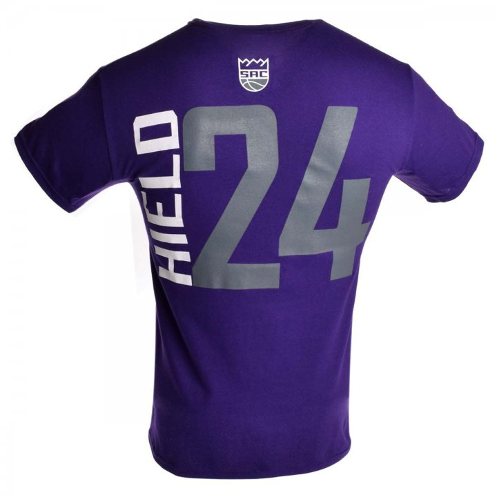 Sacramento Kings NBA Buddy Hield Vertical Name & Number T-Shirt (Purple)