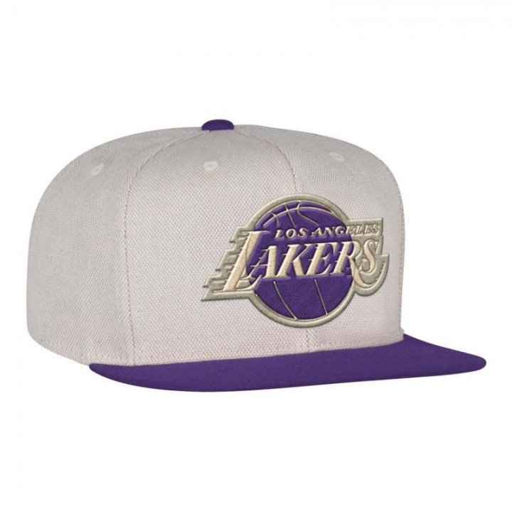 Mitchell & Ness Los Angeles Lakers Cream Oxford Fitted Hat (Ivory)