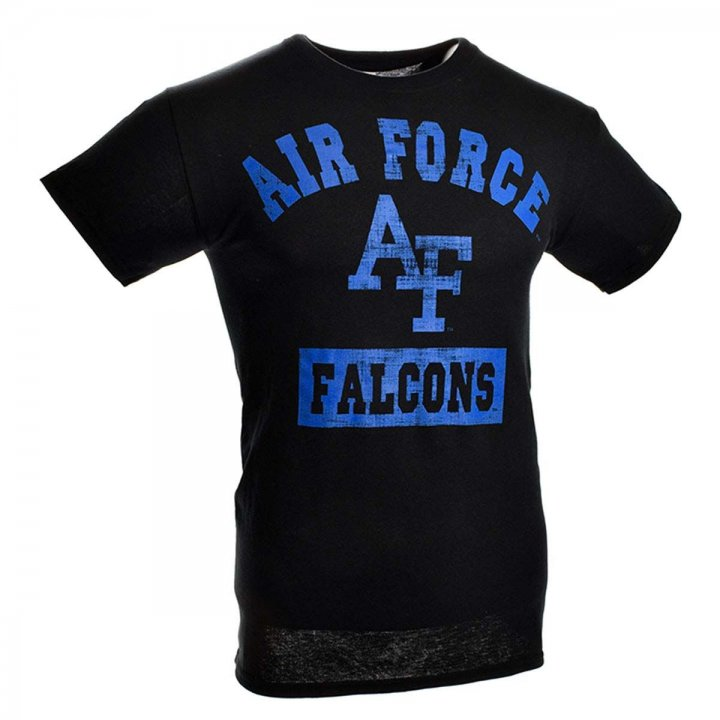 Air Force Falcons Distressed Block Print T-Shirt (Black)