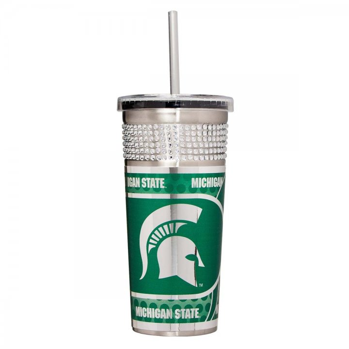 Michigan State Spartans NCAA 16 oz Silver Bling Tumbler with Straw (Silver)