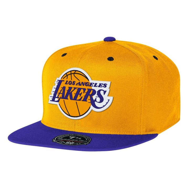 Mitchell & Ness Los Angeles Lakers Two Tone High Crown Fitted Hat (Yellow)