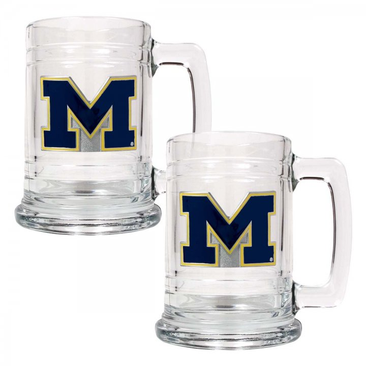 Michigan Wolverines NCAA 2 Piece Glass Tankard Set (Clear)