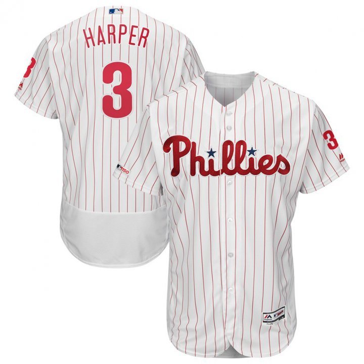 Franklin Sports Bryce Harper Philadelphia Phillies #3 Mens Home Flex Base Swingman Collection Player Jersey White