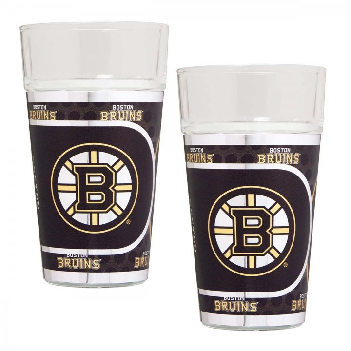 Boston Bruins NHL 2 Piece Pint Glass Set with Metallic Graphics (Clear)