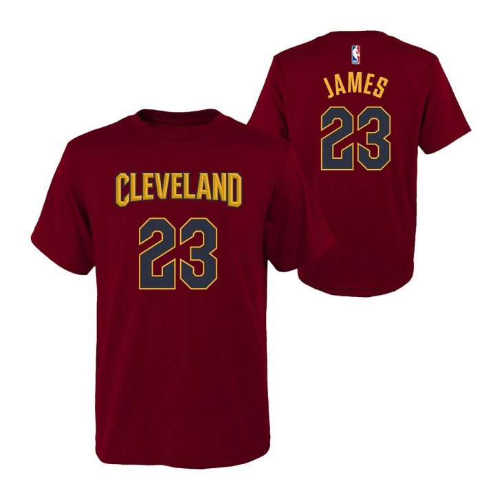 Cleveland Cavaliers NBA Lebron James Youth Flat Basic Name & Number Tee (Maroon)