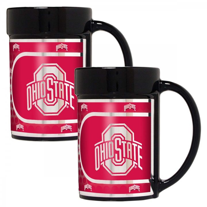 Ohio State Buckeyes NCAA 2 Piece Coffee Mug Set with Metallic Graphics (Black)