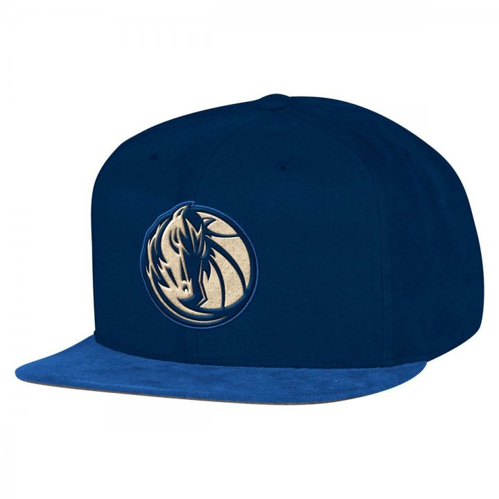 Mitchell & Ness Dallas Mavericks Sandy Off White Snapback Hat (Navy)