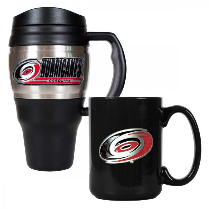 Carolina Hurricanes NHL 20 oz Heavy Duty Travel Mug and 15 oz Ceramic Mug Set (Silver/Black)