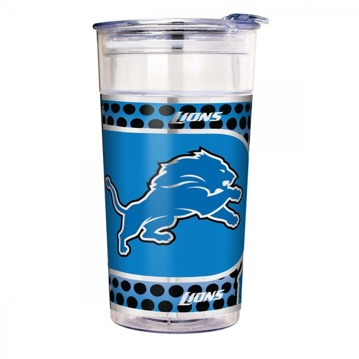 Detroit Lions 22 oz Double Wall Acrylic Party Cup with Metallic Graphics (Clear)