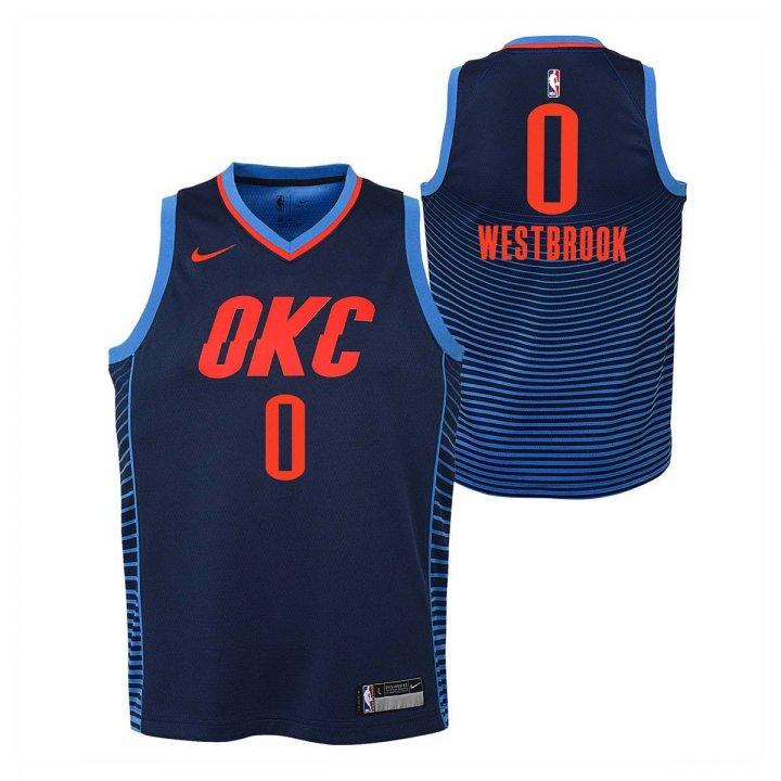 Oklahoma City Thunder NBA Russell Westbrook Youth Statement Swingman Jersey (Navy)