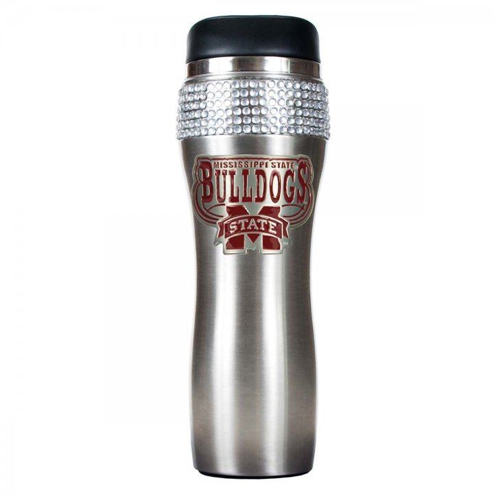 Mississippi State Bulldogs NCAA Mississippi State Bulldogs Stainless Steel Bling Travel Tumbler (Silver)