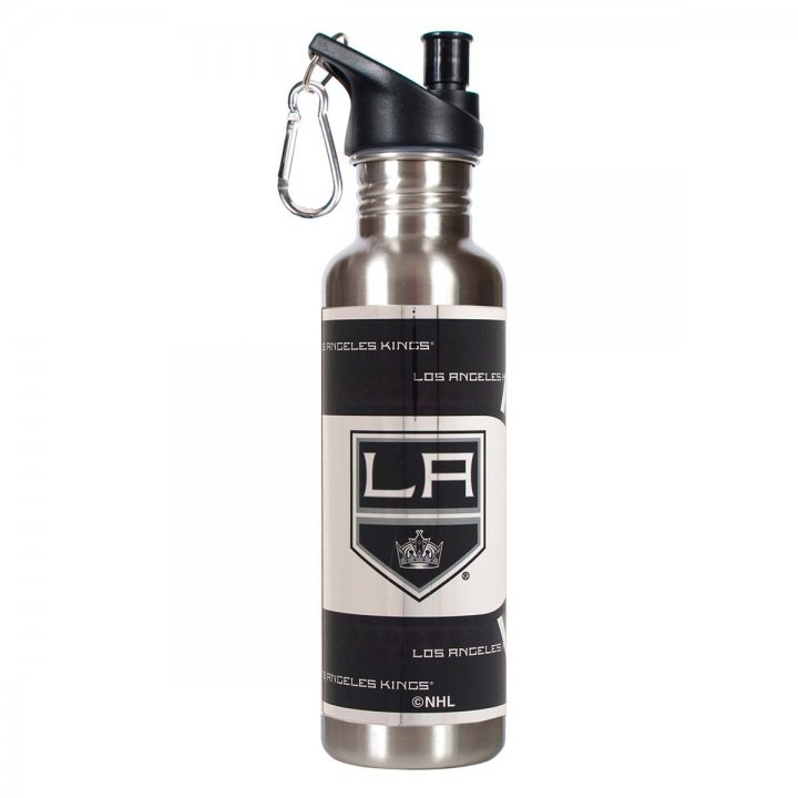 Los Angeles Kings NHL Los Angeles Kings 26 oz Stainless Steel Water Bottle with Metallic Graphics (Silver)
