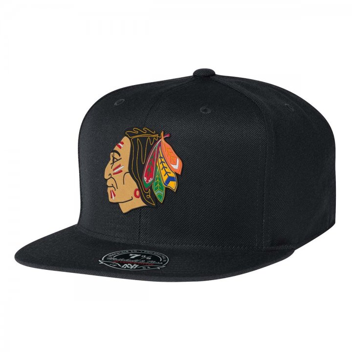 Chicago Blackhawks Solid Hc Fit Fitted Hat (Black)