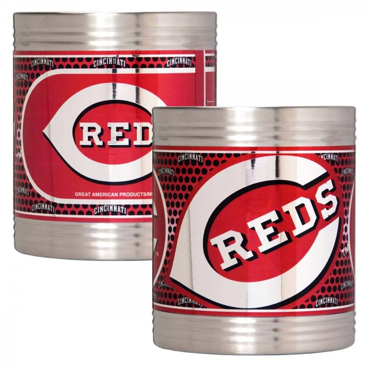 Cincinnati Reds MLB 2 Piece Stainless Steel Can Holder Set with Metallic Graphics (Silver)