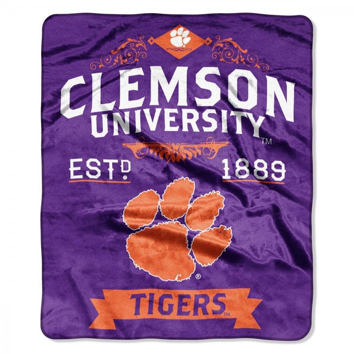 Clemson Tigers Label Raschel Blanket