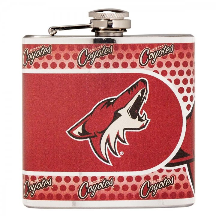 Arizona Coyotes 6 oz Stainless Steel Hip Flask with Metallic Graphics (Silver)