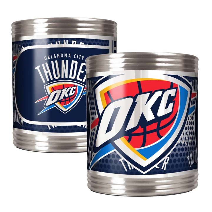 Oklahoma City Thunder NBA 2 Piece Stainless Steel Can Holder Set with Metallic Graphics (Silver)