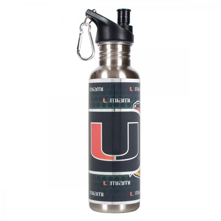 Miami Hurricanes NCAA Miami Hurricanes 26 oz Stainless Steel Water Bottle with Metallic Graphics (Silver)