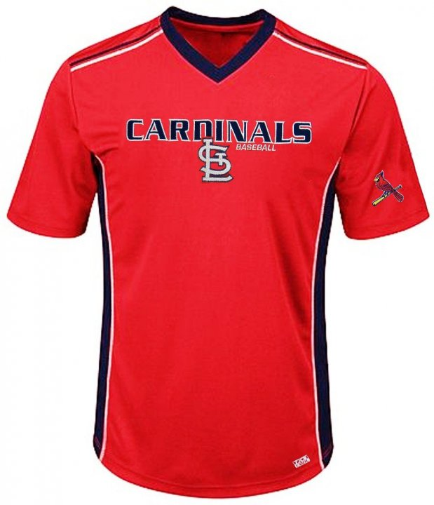 VF St. Louis Cardinals MLB Mens Cool Base Performance V Neck Jersey Red Big Sizes