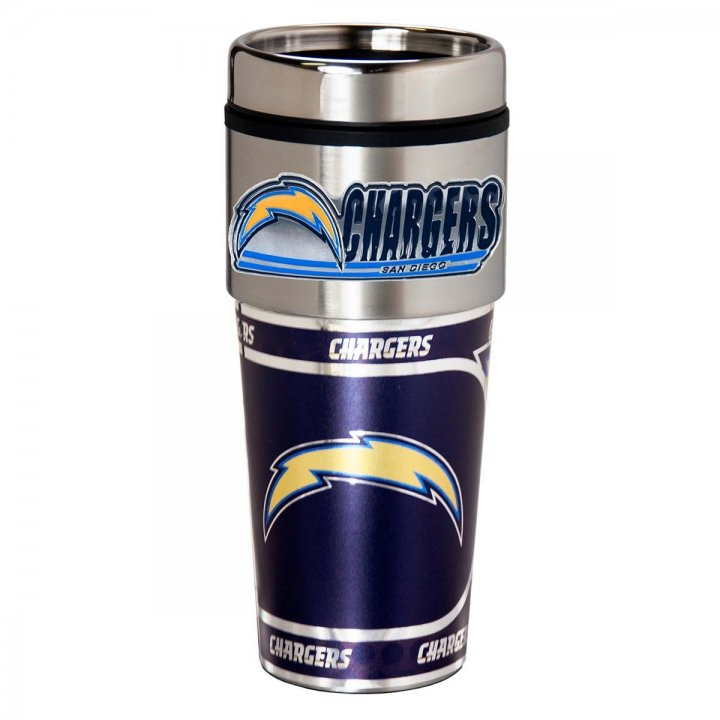 Los Angeles Chargers 16 oz Stainless Steel Travel Tumbler with Metallic Graphics