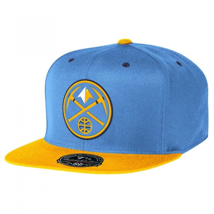 Mitchell & Ness Denver Nuggets Two Tone High Crown Fitted Hat (Blue)