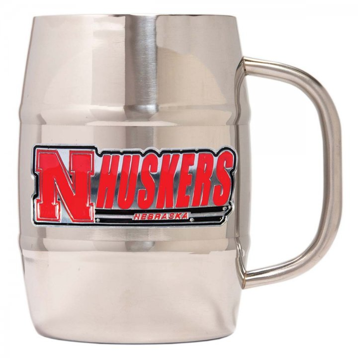 Nebraska Cornhuskers NCAA 32 oz Double Wall Stainless Steel Mug (Silver)