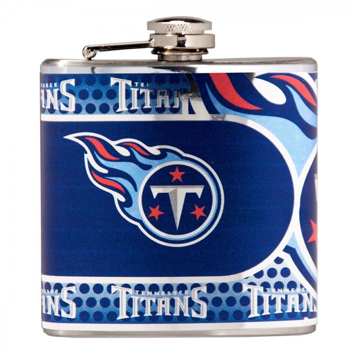 Tennessee Titans 6 oz Stainless Steel Hip Flask with Metallic Graphics (Silver)