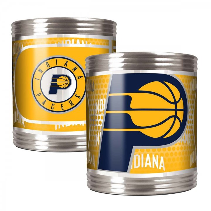 Indiana Pacers NBA 2 Piece Stainless Steel Can Holder Set with Metallic Graphics (Silver)