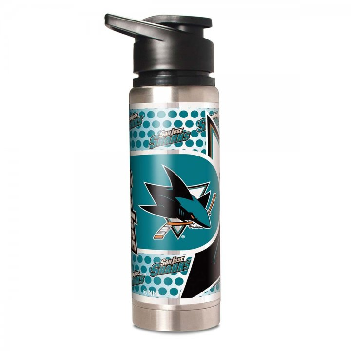 San Jose Sharks NHL 20 oz Double Wall Stainless Steel Water Bottle with Metallic Graphics (Silver)