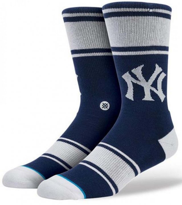 Stance, Inc New York Yankees Pinstripes Socks (Navy) L