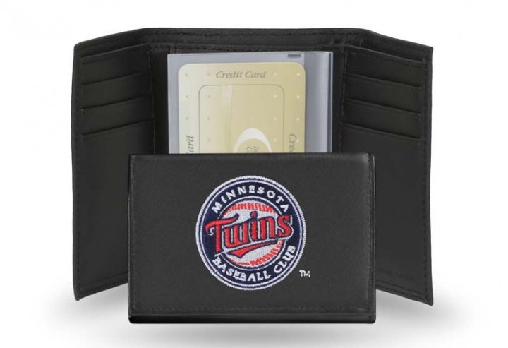 Minnesota Twins MLB Leather Trifold Wallet (Black)