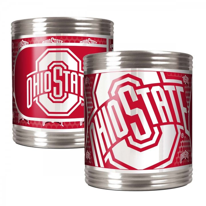 Ohio State Buckeyes NCAA 2 Piece Stainless Steel Can Holder Set with Metallic Graphics (Silver)