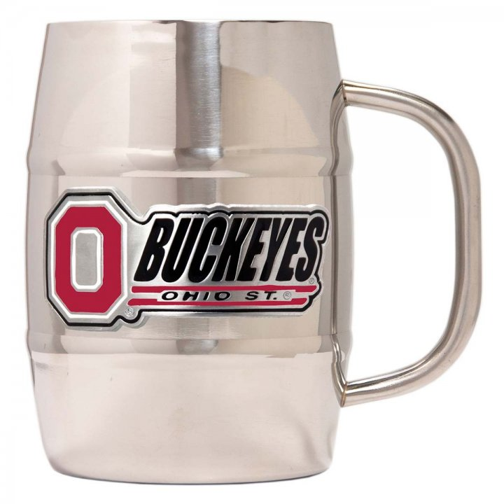 Ohio State Buckeyes NCAA 32 oz Double Wall Stainless Steel Mug (Silver)