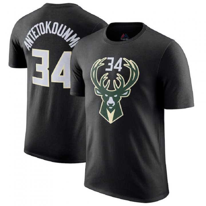 Franklin Sports Giannis Antetokounmpo Black Men's Milwaukee Bucks #34 Jersey T-Shirt