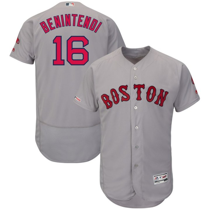 Majestic Athletic Andrew Benintendi #16 Boston Red Sox Men's Road Authentic Swingman Collection Flex Base Player Jersey - Gray
