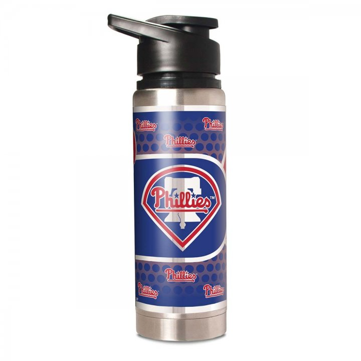 Philadelphia Phillies MLB 20 oz Double Wall Stainless Steel Water Bottle with Metallic Graphics (Silver)