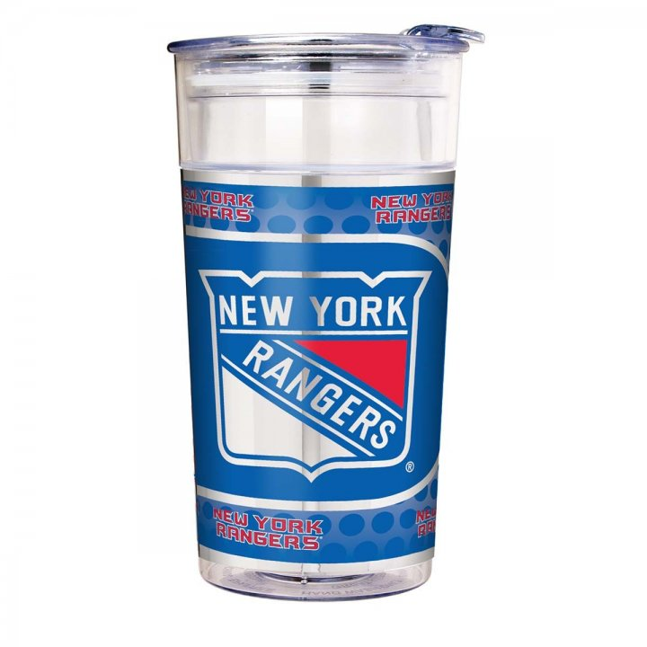 New York Rangers NHL New York Rangers 22 oz Double Wall Acrylic Party Cup with Metallic Graphics (Clear)