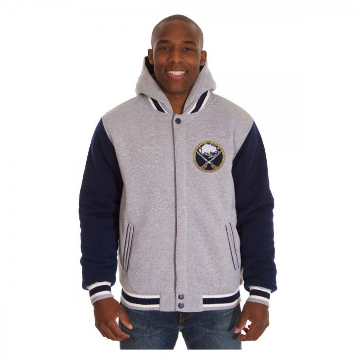 Buffalo Sabres Patch Program Reversible Fleece Hooded Button Snap Jacket (Navy)