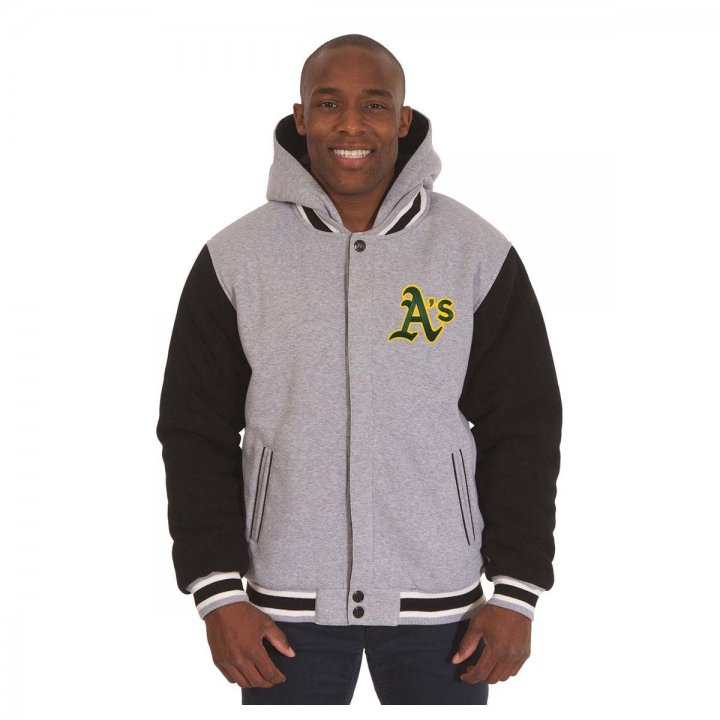 Oakland Athletics Patch Program Reversible Fleece Hooded Button Snap Jacket (Gray)