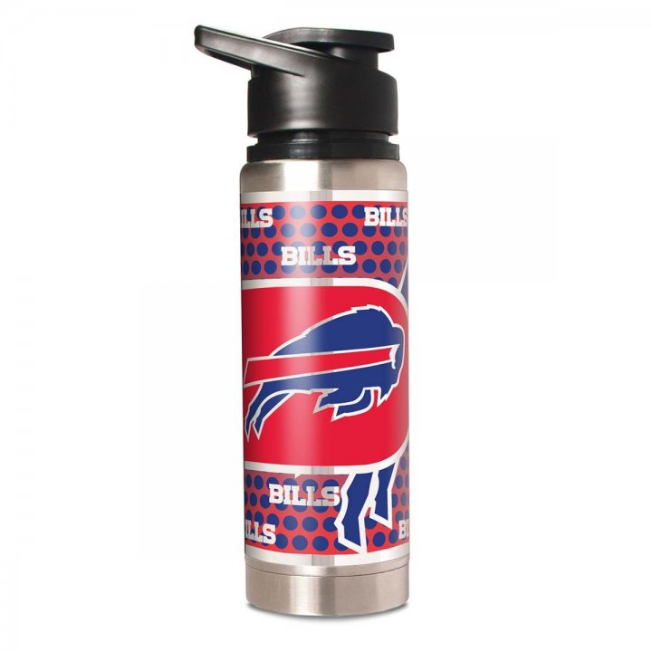 Buffalo Bills NFL 20 oz Double Wall Stainless Steel Water Bottle with Metallic Graphics (Silver)