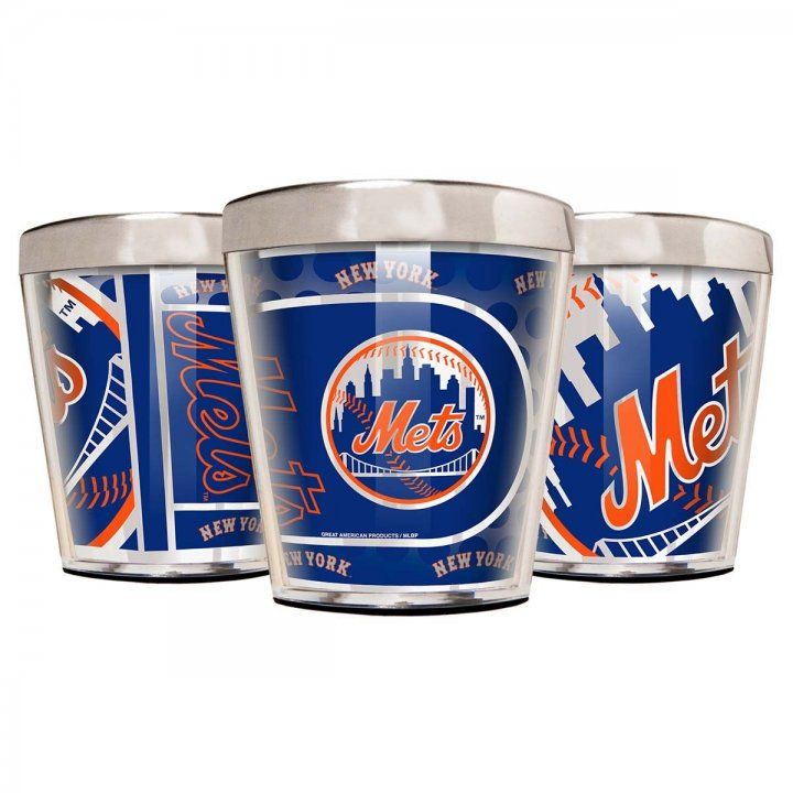 New York Mets MLB 3 Piece Stainless Steel & Acrylic Shot Glass Set with Metallic Graphics (Silver)