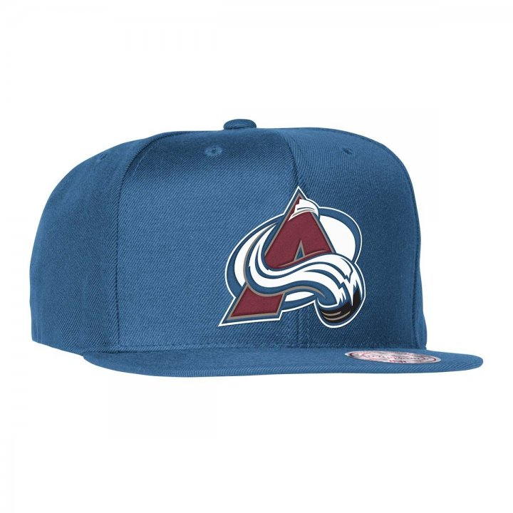 Mitchell & Ness Colorado Avalanche Wool Solid Adjustable Snapback Hat (Blue)