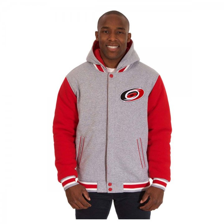 Carolina Hurricanes Patch Program Reversible Fleece Hooded Button Snap Jacket (Red)